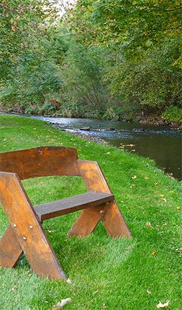 Bench overlooking river